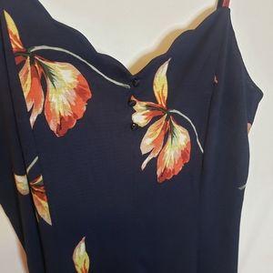 Kismet navy floral mini dress with pretty hemming size L NWT